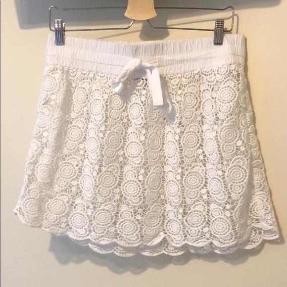 07483858f4 LOFT Swim | White Crochet Beach Coverup Skirt In Size Small | Poshmark